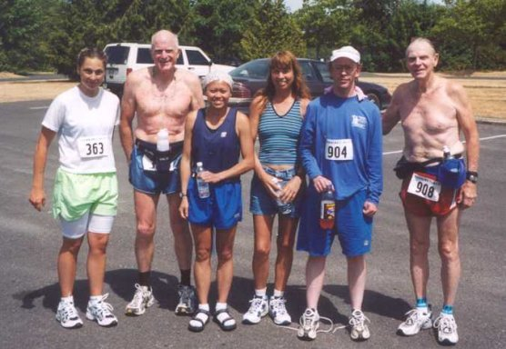 Hilma Yantes, Mel Preedy, Van Pham, Connie Ritenour, Bryan Gawley, and Bob Dolphin at the Grays Harbor Marathon in Elma, WA August 2nd, 2003