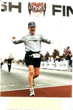 Charles Gregory finishing the Atlanta marathon