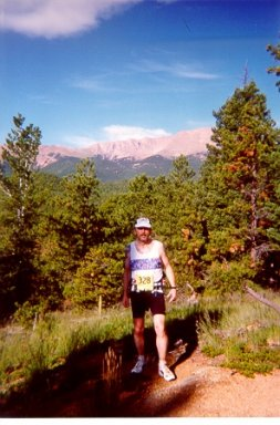 Carl Hunt takes a break for a photo at the Pike's Peak Marathon.