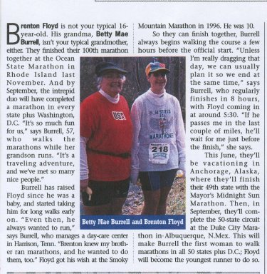 Ma Betty and Brenton featured in Runners World Magazine