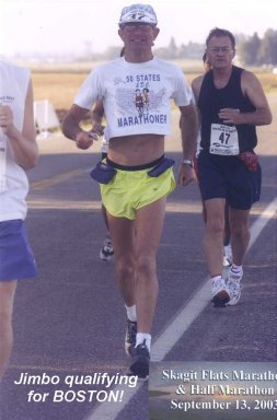 Jim Boyd running in the Skagit Flats Marathon on Sept. 13th, 2003, Jim also qualified for Boston!
