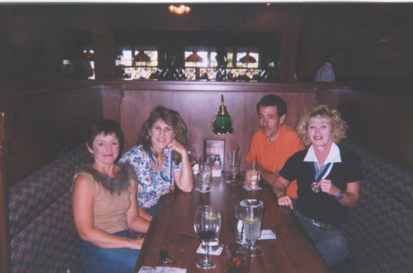 Sliver State Marathon, Patsy Beasley, Lisa Promenschenkel, Terry Haran, and Sharon Hutt eating at a local steak house after the marathon. 08/17/03