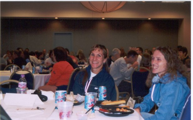 Wendy Hall at the elite table of pasta dinner at the QCA Marathon.
