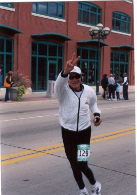 Francesco Criniti finishes up the QC Marathon on 9/28/03.