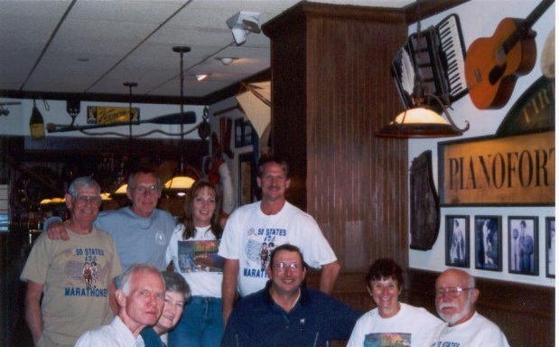Ira Robinson and wife Jeri, Larry and Ruth Ripley and Don McNelly. Dean Rademaker, Andy Kotulski, Jennifer and Jerry at Bennigan's for a celebration dinner. 9/28/03