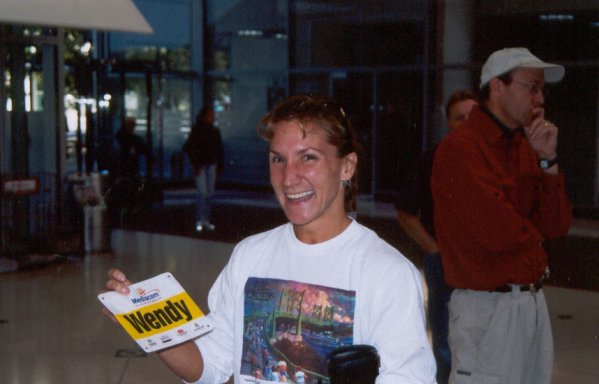 Wendy Hall with her lucky bib for the DesMoines Marathon 10/04/03.