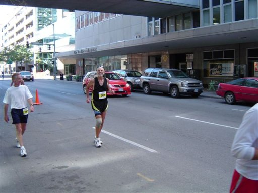 Don Dickmeyer still loking good near the finish of his 98th marathon. 10/05/03