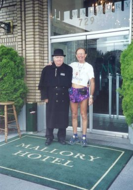 Ol' Jimbo and Larry the doorman at the Mallory Hotel in Portland for the marathon on October 5th, 2003.