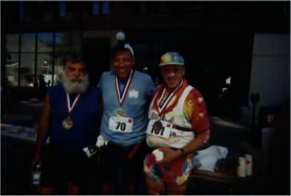 Henry Ruedin, Ray Scharenbrock, and Randall Hansen at the finish of the Lewis and Clark Marathon in Sioux City, Iowa 2003.