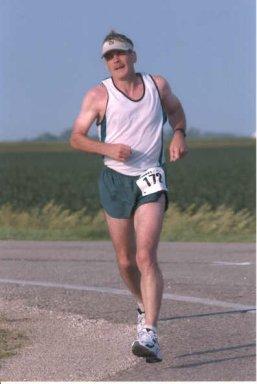 Michael Romberg running Marathon to Marathon in Storm Lake, Iowa.
