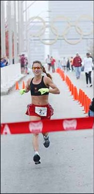 Wendy Hall winning the Atlanta Marathon with the time 2:54:29 11/27/03.