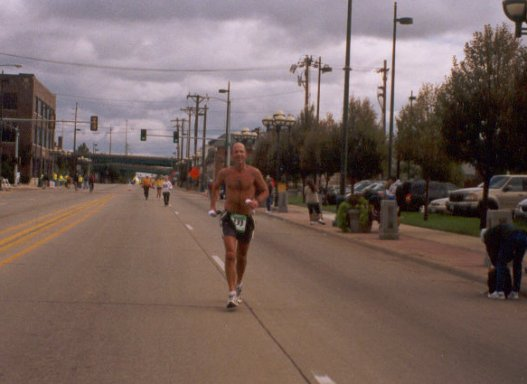 Pat DeCoster going to the finish line at the Quad Cities Marathon. 9/28/03