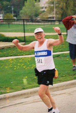 Charles Sayles running in the Lake Geneva Marathon 05/10/03.