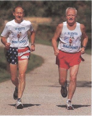 Ken Thompson and Ralph Thompson do a warm-up run on the Towpath near Mustill Store in Akron, Ohio.