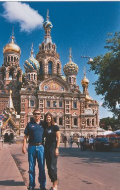 Clay Shaw and his wife Karen Mitchell at St. Peterburg, Russia. What a beautiful backdrop!