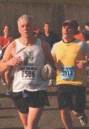 Gerald Royce running strong at a favorite Marathon.