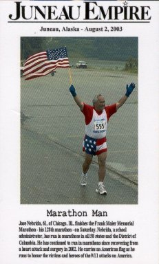 Jose Nebrida finishes his 128th marathon in Juneau, Alaska on August 2nd, 2003.