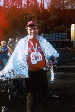 Danny Jones from Alberta, Canada at the finish of one of his marathons.