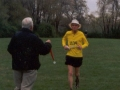 Ira Robinson running towards the finish of the Triple Crown Marathon.