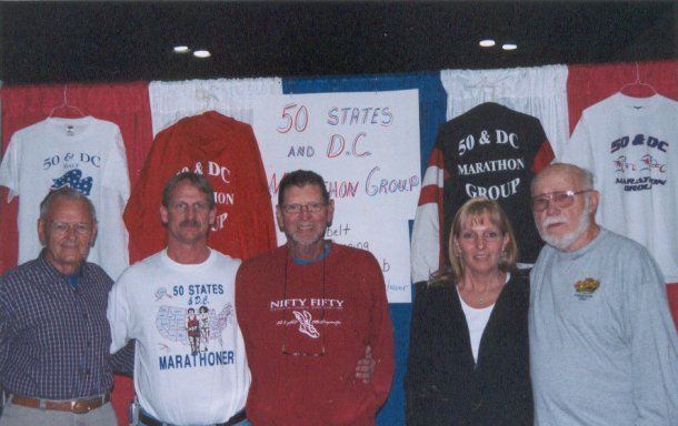 Wally Herman, Jerry Schaver, Norman Frank, Jennifer Chrest, and Don McNelly at the Hops Marathon Expo 2004