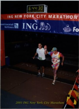 Randall Hansen finishing the New York City Marathon with a time of 6:44:30.