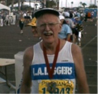 Charles Sayles finishes his 13th State at the Phoenix Marathon 2004.