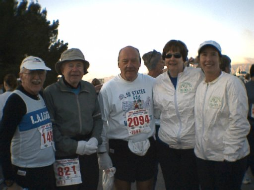Members at the Las Vegas Marathon : Charles Sayles, Burt Carlson, Don Lang, Susan Sinclair, and Carolyn Krumrey.