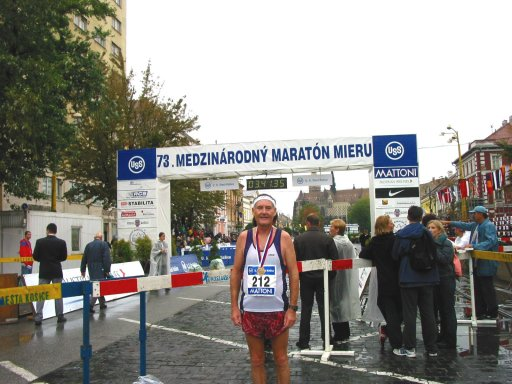John Wallace at the finish of the Kosice Marathon 2004.