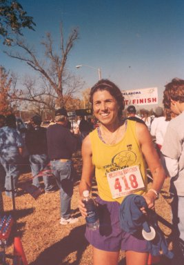 Linda Thompson, after finishing the Tulsa Marathon in 2002.