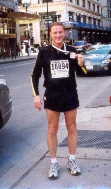 Jim Norman at the finish of Chicago Marathon 2002.