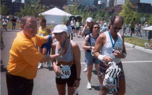 Mieka Gerard just finishing Rock & Roll Marathon in Nashville in April of 2001.