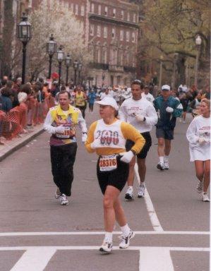 Mieka Gerard running the Boston Marathon on April 17th, 2000.