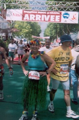 Mieka Gerard at the finish of Me'doc Marathon in Bordeao, France 2001.