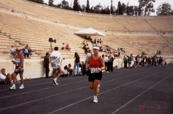 Mieka Gerard running the Athens Marathon in Greece of 2000.