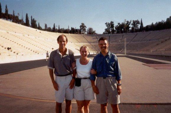 Jeff Galloway, Mieka Gerard and John 'The Penguin' Bingham at the Athens Marathon in Greece 2000.