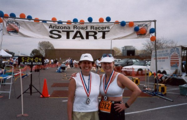 Mieka Gerard and friend at the Desert Classic Marathon 2002.