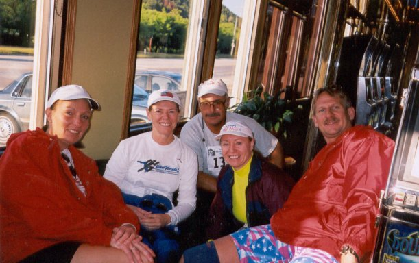 Jennifer Chrest, Kathi Patton, Dave, Mieka Gerard, and Jerry Schaver before the Deadwood Marathon 2003.