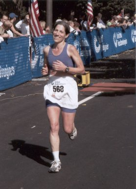 Barbara Freedman, finishing the Hartford Marathon 10/11/03