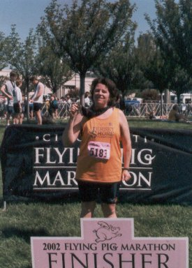 Peggy McKean after finishing the Flying Pig Marathon in Ohio with the time of 4:28:28.
