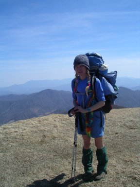 LuLu (Marit Schultz) on Big Bald Mountain on the Appalachian Trail.