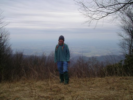 LuLu (Marit Schultz) on Bassett Memorial Mountain on March 24, 2004 during her Appalachian Trail adventure.