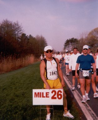 Marcial Lo'pez, stop at the 26 mile mark on the Ontario Marathon- Rochester, New York