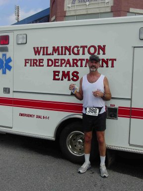 Tom Skinner at the Delaware Maraton wishing he could have rested here after the race. 80 Degrees with 100% Humidity!!