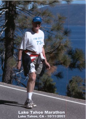 Gene Bandler, at 73 + doing the Lake Tahoe Marathon 10/11/03.
