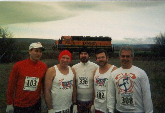 John Weger, Bill Lowrey, C.E. Goudeau, Craig Watson and Stewart Buck at the Yakima River Marathon.