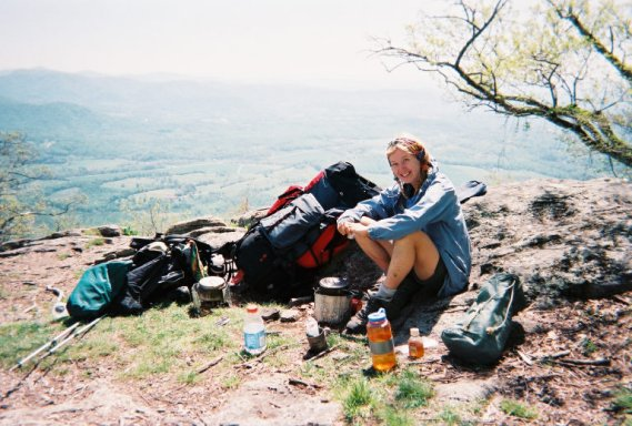 Marit Schultz or LuLu having lunch on the Appalachian Trail. What a view!!!