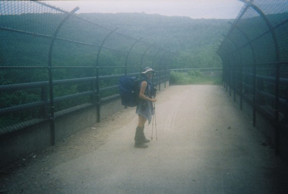 Marit Schultz (LuLu) crossing one of the bridges along the Appalachian Trail 6/27/04.