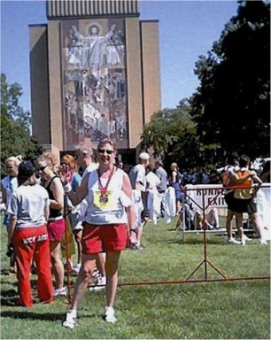 Meta Minton at Touchdown Jesus at the Sunburst Marathon.