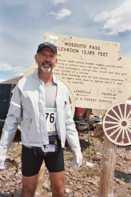 Tom Skinner at the Mosquito Pass turn around 13,185 feet elevation 7/3/04.
