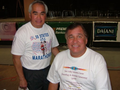 Jose' Nebrida and Billy Mills at the Deadwood Expo on June 5th, 2004